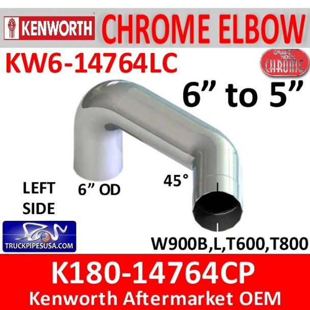 """6"""" Kenworth Left Chrome Elbow reduced to 5"""" 14764"""