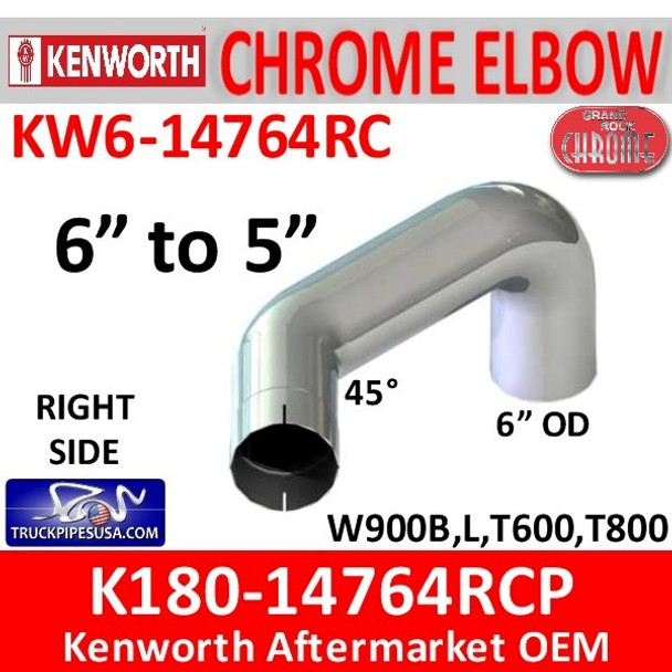 """6"""" Kenworth Right Chrome Elbow reduced to 5"""" 14764"""