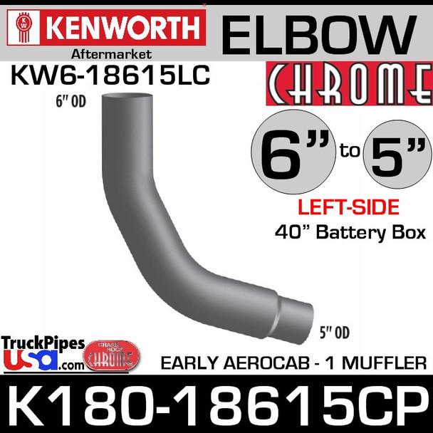 "K180-18615CP Kenworth Left Chrome 6"" to 5"""