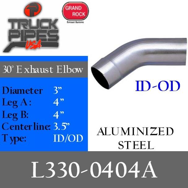 "3"" 30 Degree Exhaust Elbow 4"" x 4"" ID-OD- Aluminized L330-0404A"