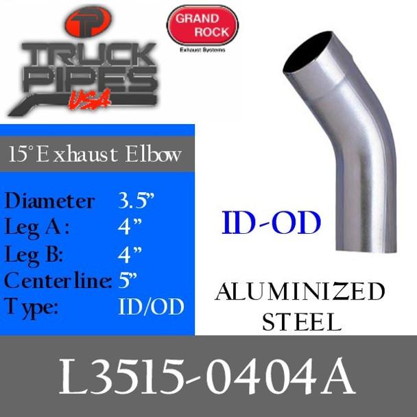 "3.5"" 15 Degree Exhaust Elbow 4"" x 4"" ID-OD Aluminized L3515-0404A"