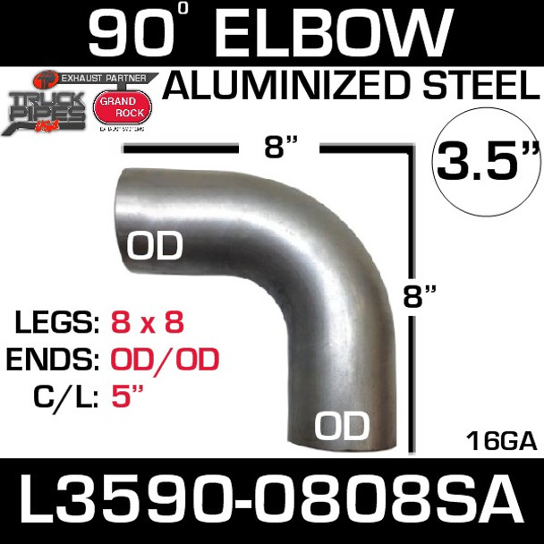 "3.5"" 90 Degree Exhaust Elbow 8"" x 8"" OD-OD Aluminized L3590-0808SA"