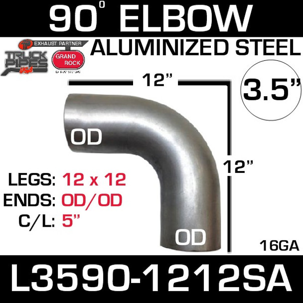 "3.5"" 90 Degree Exhaust Elbow 12"" x 12"" OD-OD Aluminized L3590-1212SA"