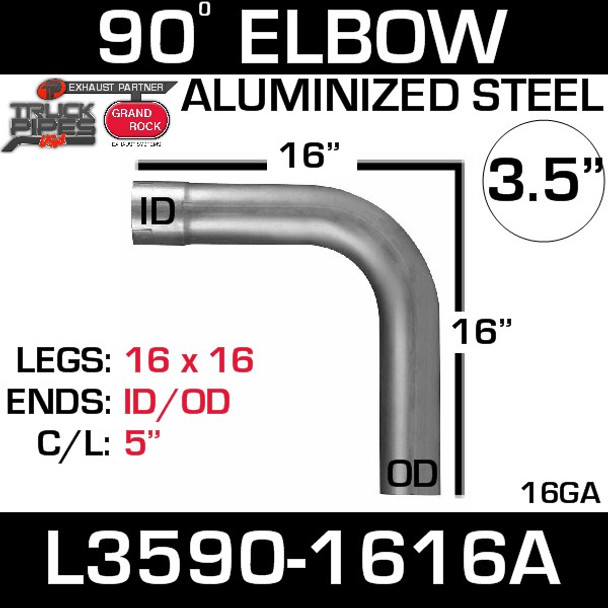 "3.5"" 90 Degree Exhaust Elbow 16"" x 16"" ID-OD Aluminized L3590-1616A"