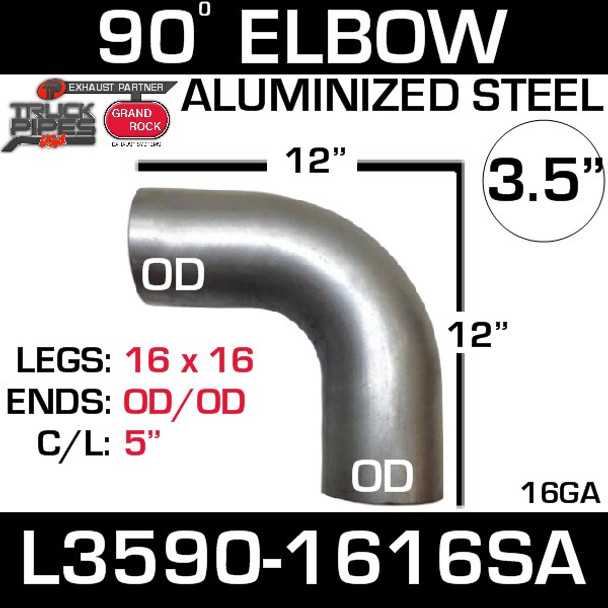 "3.5"" 90 Degree Exhaust Elbow 16"" x 16"" OD-OD Aluminized L3590-1616SA"
