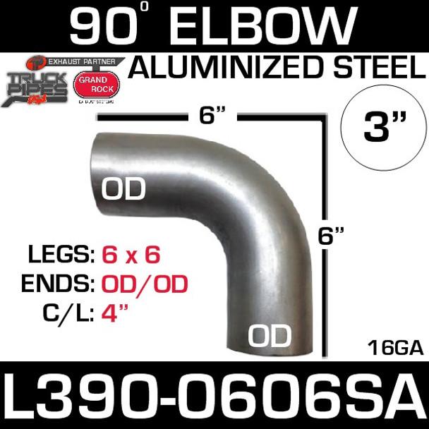"3"" 90 Degree Exhaust Elbow 6"" x 6"" OD-OD- Aluminized L390-0606SA"