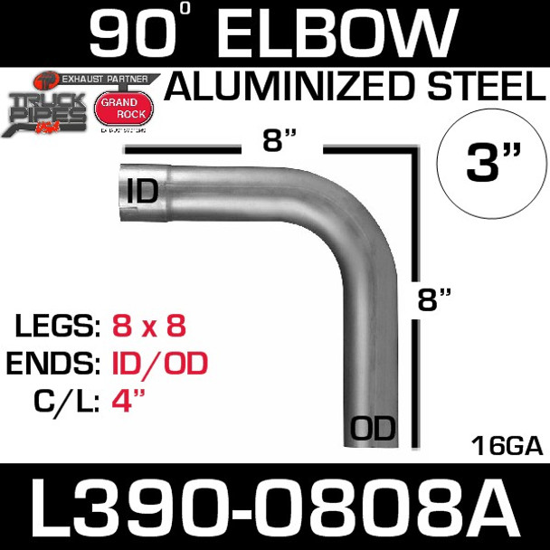 "3"" 90 Degree Exhaust Elbow 8"" x 8"" ID-OD Aluminized L390-0808A"