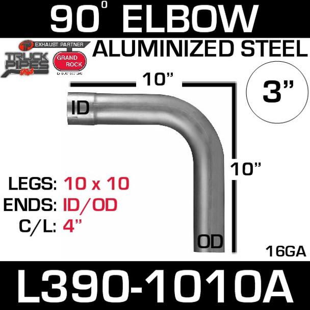 "3"" 90 Degree Exhaust Elbow 10"" x 10"" ID-OD Aluminized L390-1010A"