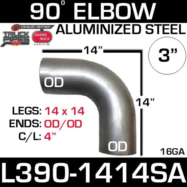 "3"" 90 Degree Exhaust Elbow 14"" x 14"" OD-OD Aluminized L390-1414SA"