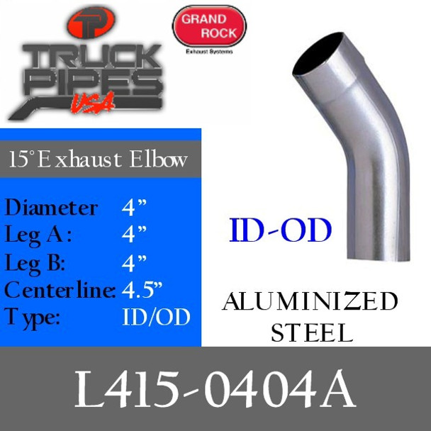 "4"" 15 Degree Exhaust Elbow 4"" x 4"" ID-OD Aluminized L415-0404A"