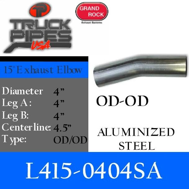 "4"" 15 Degree Exhaust Elbow 4"" x 4"" OD-OD Aluminized L415-0404SA"