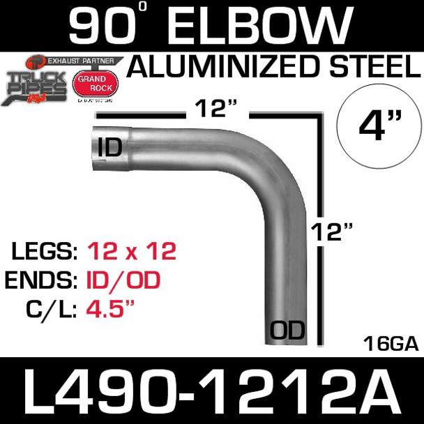 "4"" Exhaust Elbow 90 Degree 12"" x 12"" ID-OD Aluminized L490-1212A"