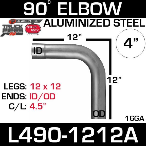 "4"" Exhaust Elbow 90 Degree 12"" x 12"" ID-OD Aluminized L490-1212A"