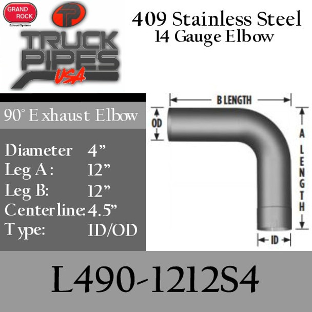 """4"""" Exhaust Elbow 90 Degree 12"""" x 12"""" ID-OD 409 Stainless Steel L490-1212S4"""