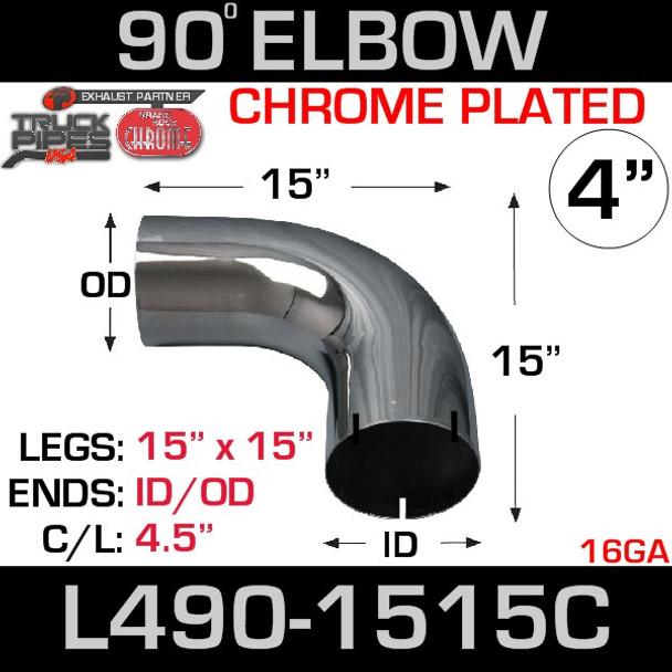 "4"" Chrome Exhaust Elbow 90 Degree 15"" x 15"" ID-OD L490-1515C"