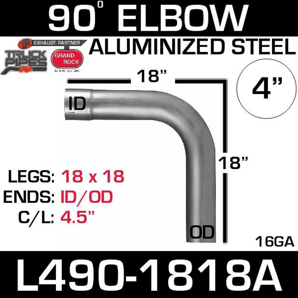 "4"" Exhaust Elbow 90 Degree 18"" x 18"" ID-OD Aluminized L490-1818A"