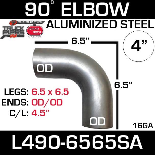 "4"" Exhaust Elbow 90 Degree 6.5"" x 6.5"" OD-OD Aluminized L490-6565SA"