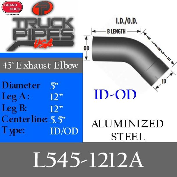 "5"" 45 Degree Exhaust Elbow 12"" x 12"" ID-OD Aluminized L545-1212A"