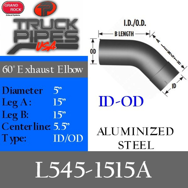 "5"" 45 Degree Exhaust Elbow 15"" x 15"" ID-OD Aluminized L545-1515A"