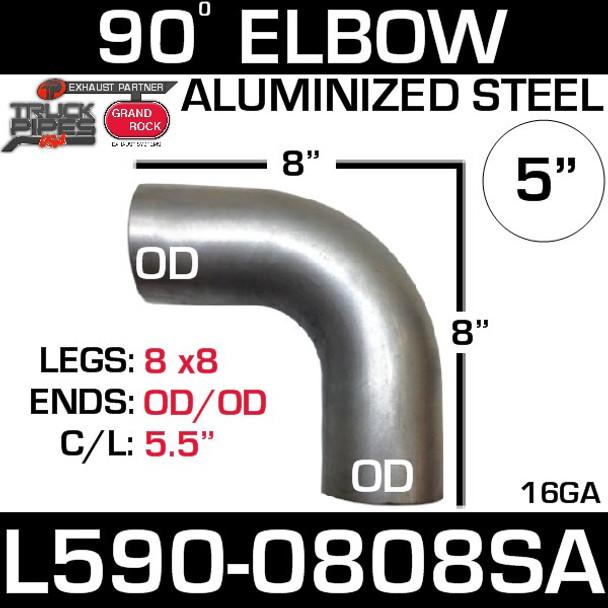 "5"" 90 Degree Exhaust Elbow 8"" x 8"" OD-OD Aluminized L590-0808SA"