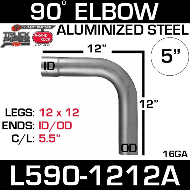 "5"" 90 Degree Exhaust Elbow 12"" x 12"" ID-OD Aluminized L590-1212A"