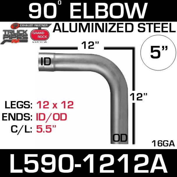 "5"" 90 Degree Exhaust Elbow 12"" x 12"" ID-OD Aluminized L590-1212A"