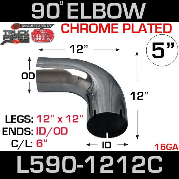 "5"" 90 Degree Exhaust Elbow 12"" x 12"" ID-OD Chrome L590-1212C"