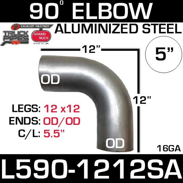 "5"" 90 Degree Exhaust Elbow 12"" x 12"" OD-OD Aluminized L590-1212SA"