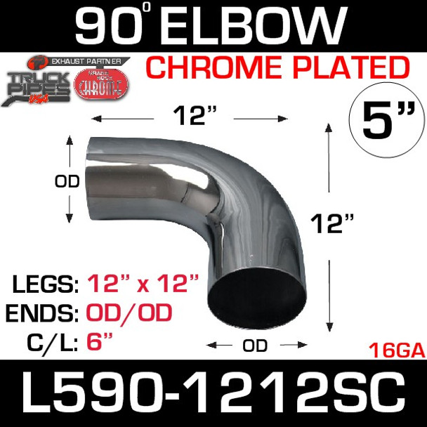 """5"""" 90 Degree Exhaust Elbow 12"""" x 12"""" OD-OD Chrome L590-1212SC"""