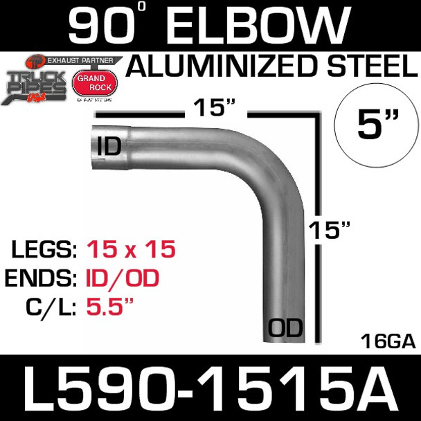 "5"" 90 Degree Exhaust Elbow 15"" x 15"" ID-OD Aluminized L590-1515A"