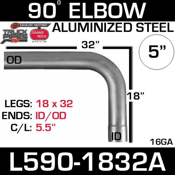 "5"" 90 Degree Exhaust Elbow 18"" x 32"" ID-OD Aluminized L590-1832A"