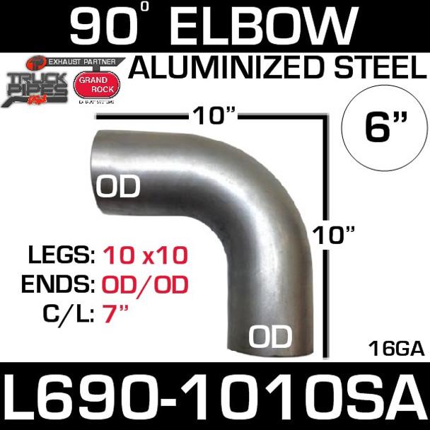 "6"" 90 Degree Exhaust Elbow 10"" x 10"" OD-OD Aluminized L690-1010SA"