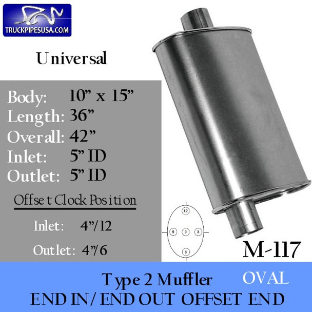 """M-117 Type 2 Oval Sterling Muffler 10"""" x 15"""" x 36"""" Long 5"""" IN-OUT"""