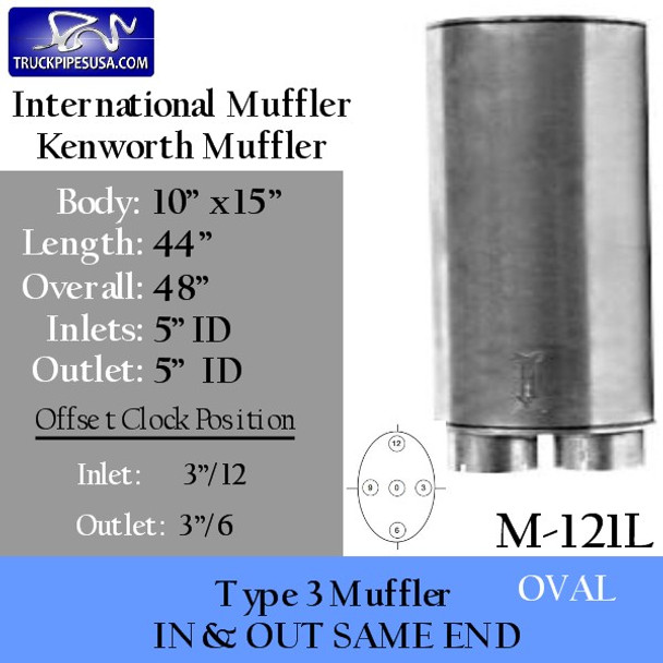 "Type 3 Oval Muffler 10"" x 15"" x 44"" Body 5"" IN-OUT (M-121L)"