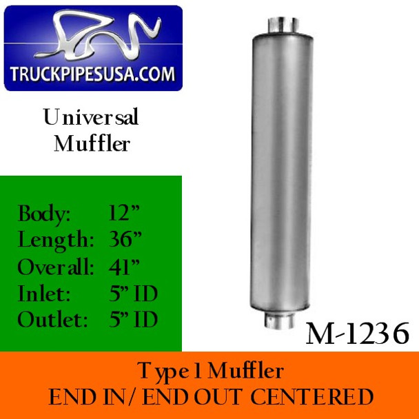 """M-1236 Type 1 Diesel Muffler 5"""" Inlet-Outlet 12"""" Round 36"""" Long"""