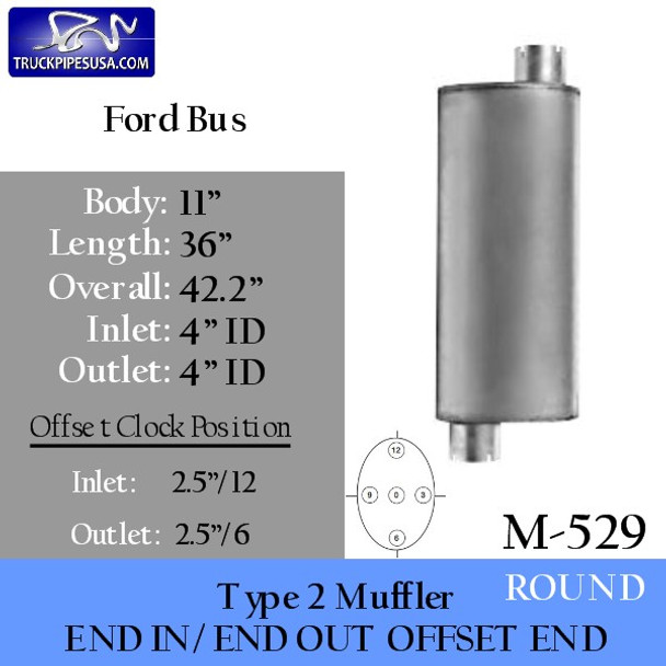 """M-529 Type 2 Muffler for Ford School Bus 11"""" x 36"""" Round 4"""" IN-OUT"""