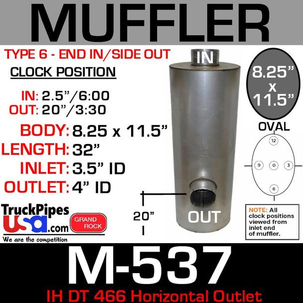 1648000C2 International DT466 Horizontal Outlet Oval Muffler M-537