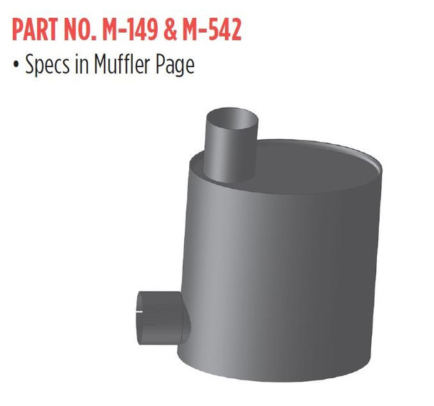"""M-542 M-542 Mack DM Oval Muffler 10"""" x 15"""" Oval  4"""" IN & 5"""" OUT"""