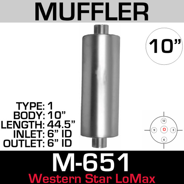 "Western Star Muffler 10"" x 44.5"" Body 6"" ID IN-OUT Lo-Max (M-651)"