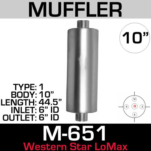 "Western Star Muffler 10"" x 44.5"" Body 6"" ID IN-OUT Lo-Max (M-651)"
