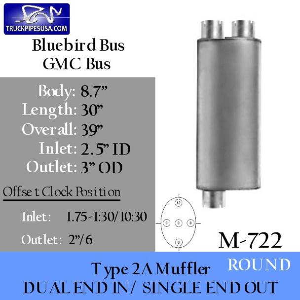 """M-722 Type 2A Muffler Bluebird GMC 8.7"""" x 30"""" 2.5"""" IN-3"""" OD OUT"""