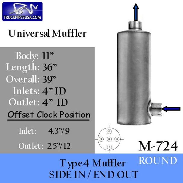 """M-724 Type 4 Round Muffler 11"""" x 36"""" 4"""" IN-OUT"""