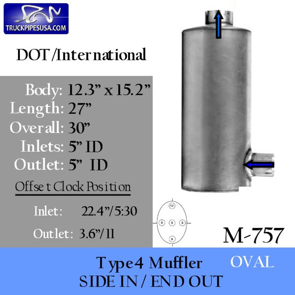 """M-757 12.3"""" x 15.2"""" Oval Muffler 27"""" Body 5"""" IN-OUT"""