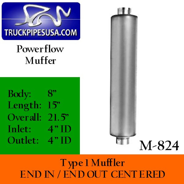 """M-824 Type 1 Powerflow Muffler 8"""" Round x 15"""" Body 4"""" IN-OUT 21.5 Overall"""
