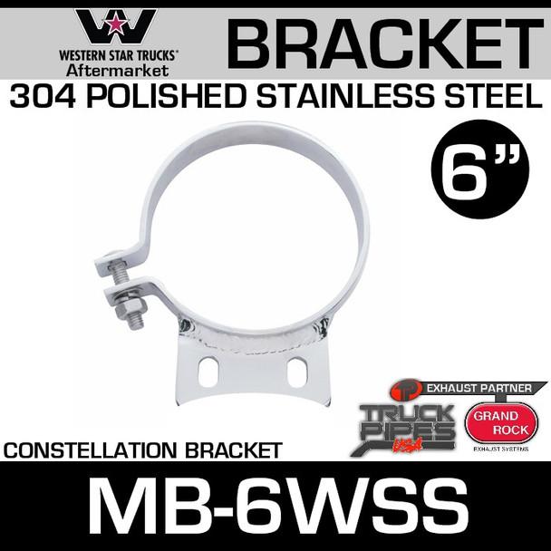 "6"" Western Star Constellation Stack Mount Bracket Clamp MB-6WSS"