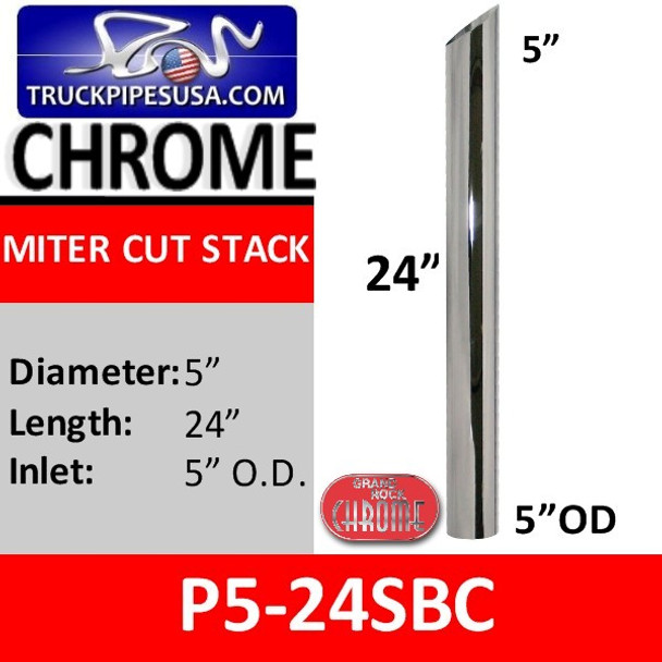 """5"""" x 24"""" Miter or Angle Cut OD Chrome Exhaust Tip P5-24SBC"""