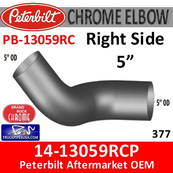 14-13059RCP Peterbilt 377 Right Chrome Exhaust Elbow  PB-13059RC