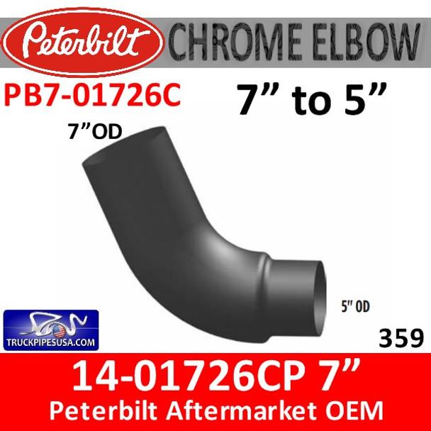 "PB7-01726C 14-01726 7"" Version Peterbilt 359 With 5"" OD Reducer Chrome"