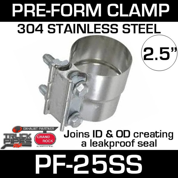 """2.5"""" Preformed Stainless Steel Exhaust Seal Clamp PF-25SS"""