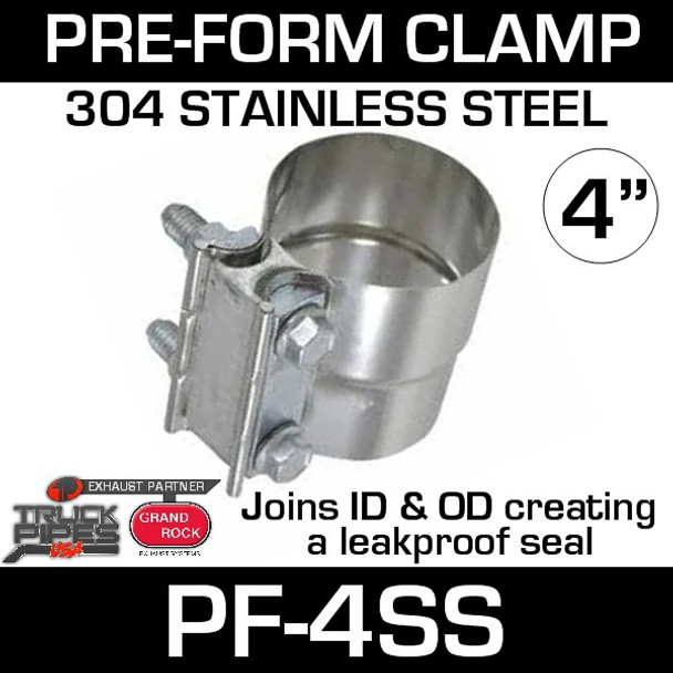 """4"""" Preformed Stainless Steel Exhaust Seal Clamp PF-4SS"""